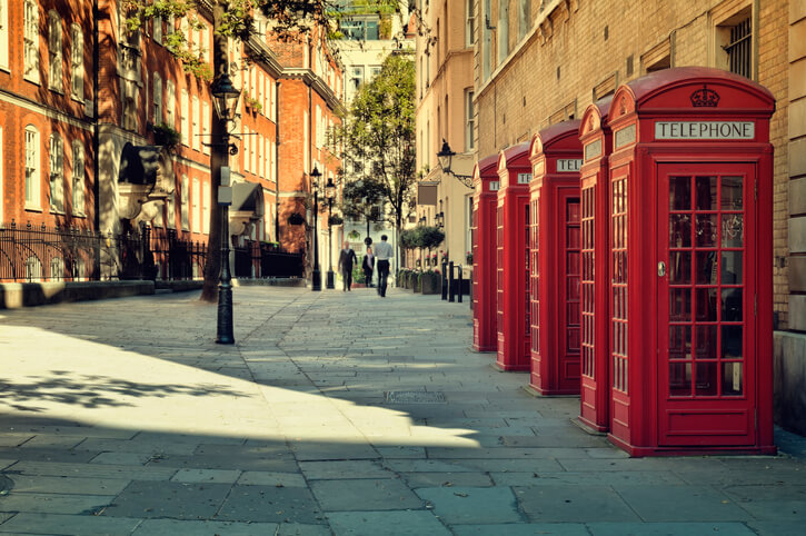Image Of Red Phone Boxes In Soho, London, home of the Century Club for Summer Parties