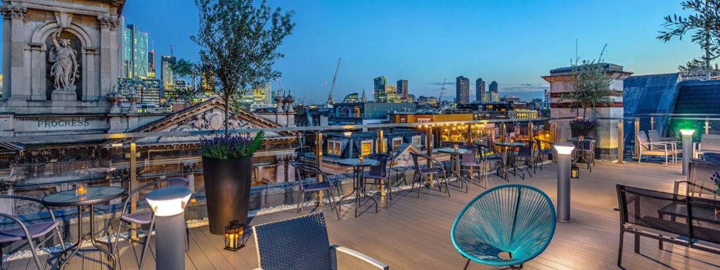 Shoreditch Sky Terrace - a great london summer party venue with a view of London city