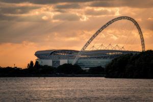 Wembley Stadium at sunset, a great location for summer parties
