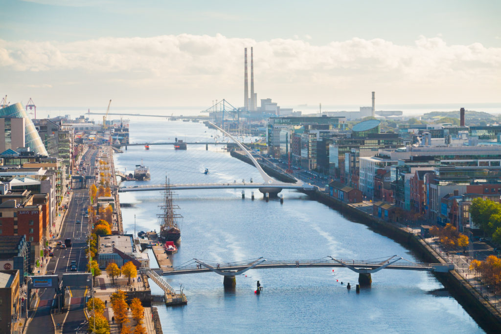 Dublin city skyline, looking over the river. The city is home to Us&Co's second co-working business centre