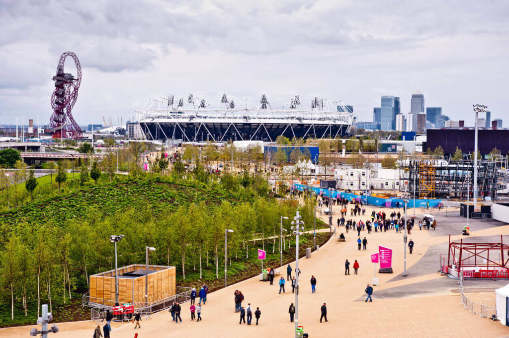 Stratford Olympic Park during London 2012, filled with athletes