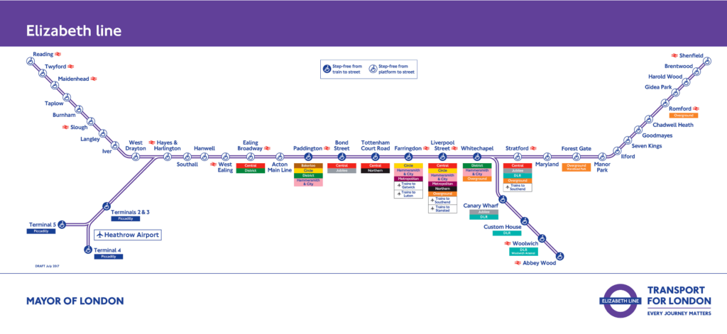 Elizabeth Line Map December 2019 showing the connection of Stratford to central London