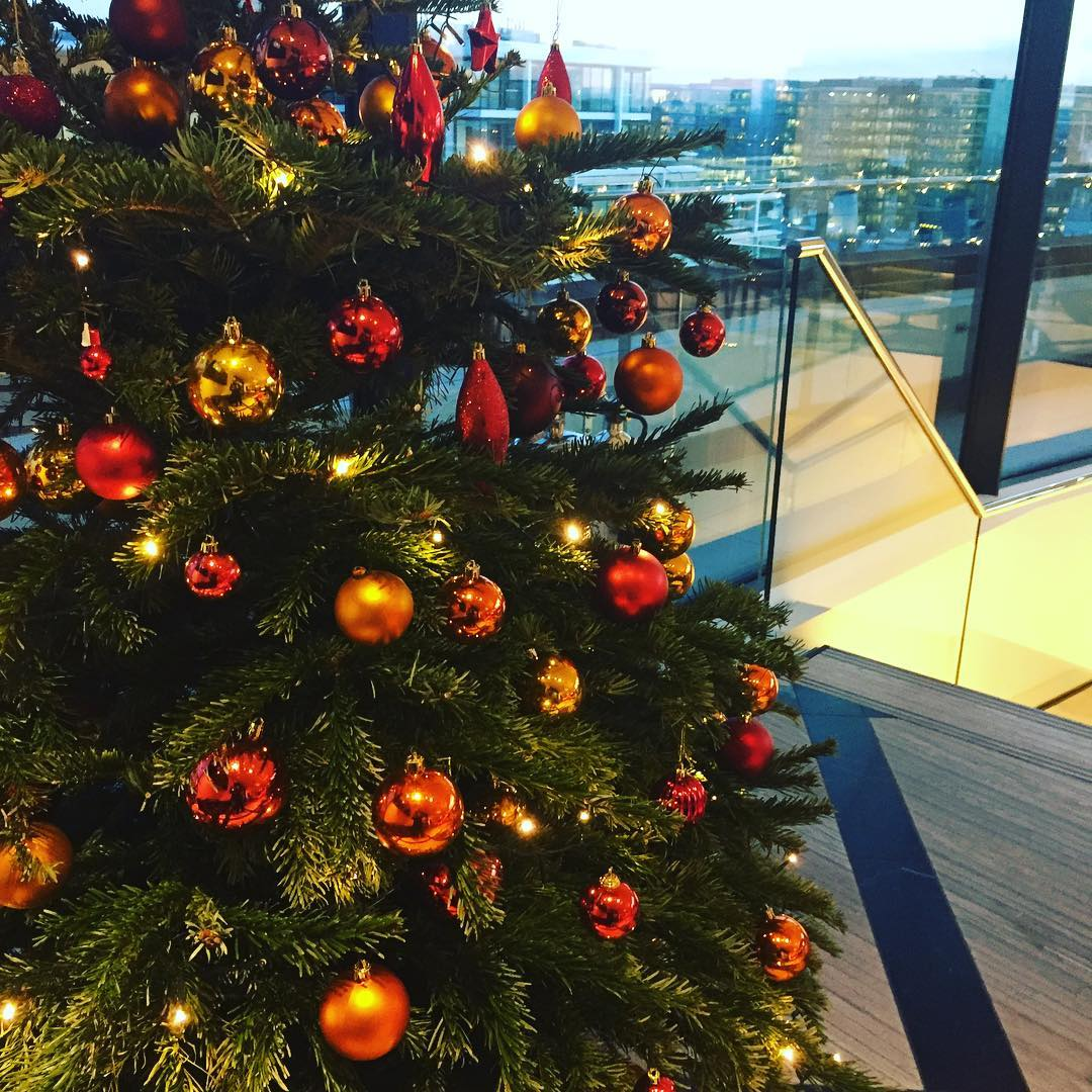 The Christmas tree at us&co monument, a perfect Christmas Party spot with views of London skyline